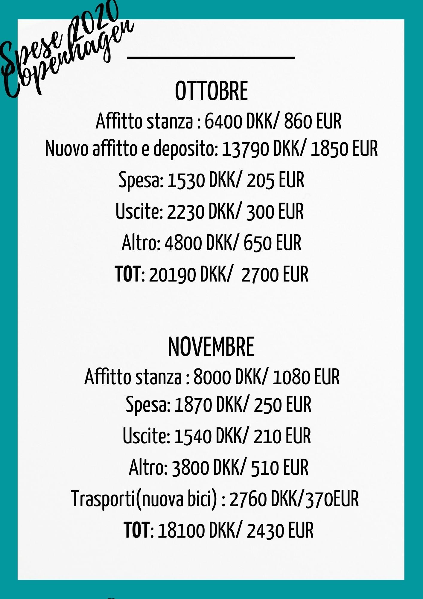 tabella spese di ottobre e novembre
