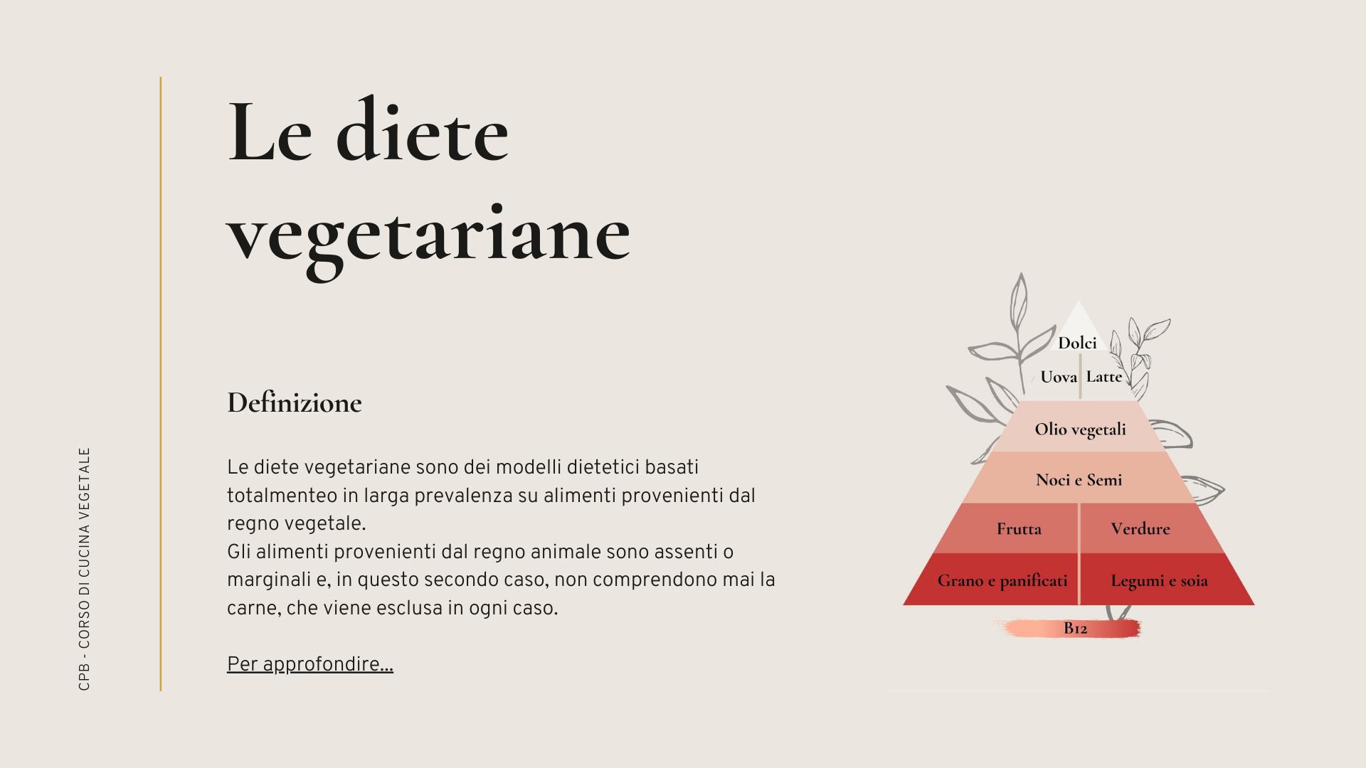 le diete vegetariane definizione